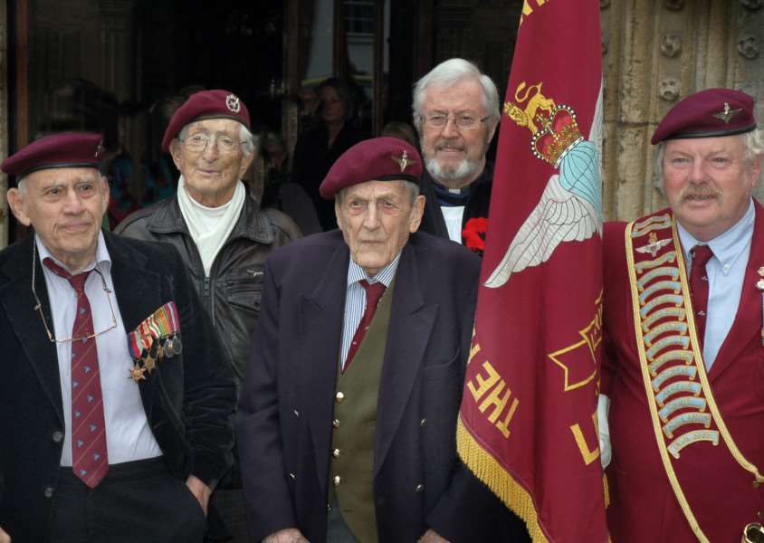 Former Ambassador Michael A Winner, Sandy Saunders, Colonel John Waddy, Rev. Brian McAvoy and Standard Bearer John Gibbard meet up outside St Mary's Church prior to a service to mark the 75th anniversary of the formation of 156 Battalion, the Parachute Regiment EMN-161018-111032001