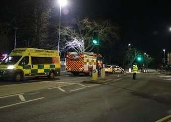 An ambulance was also at the scene of the fire last night. Photo: Tom Dodd