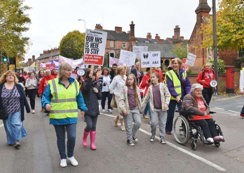 Protest march through Grantham to highlight the closure of the A and E Department at Grantham Hospital EMN-161029-180724009