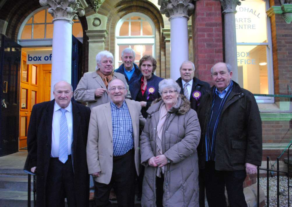 Mike and Jean Taylor (centre) with Marietta King behind and fellow members of UKIP.