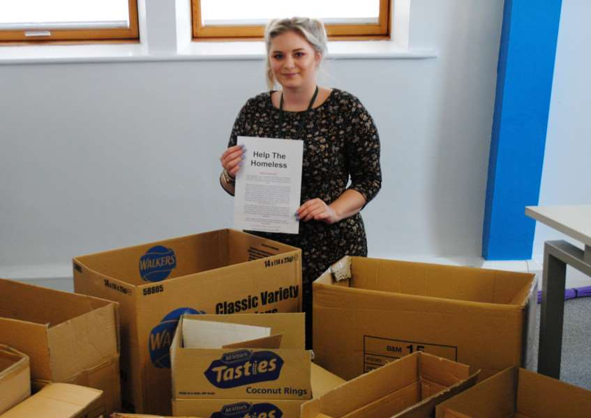 Katie-May Moore is hoping to fill as many boxes as she can for the town's homeless.