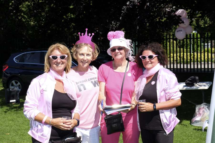 The Pink Ladies - Tracey Hodgson and Tina Devenish, with Sue Stannard and Angie Tapson - at the Amazing Pink Ribbon Race in Wyndham Park, Grantham. EMN-160720-155112001