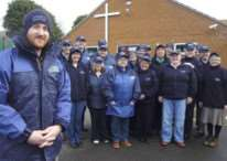 Reverend Andy Scholes with the original team of street pastors.