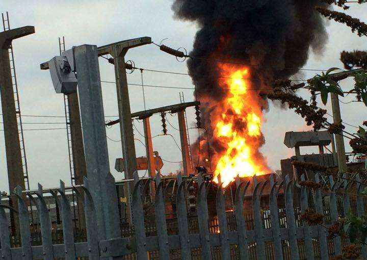Substation fire in Grantham. Photo: Troy Taylor
