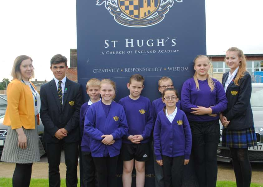 PSHE co-ordinator Gillian Brady with pupils from the West Grantham Academy St Hugh's and St John's.