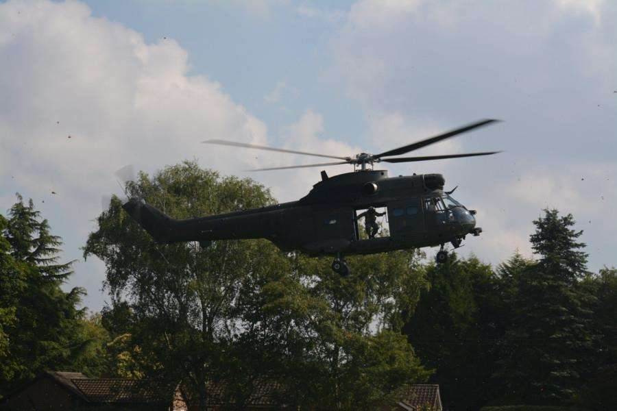A Squadron helicopter coming in to land at the Caythorpe Gala and Arnhem Commemoration.