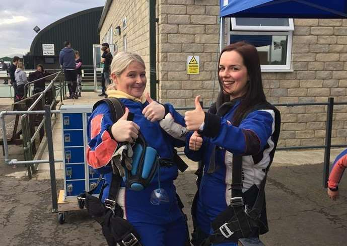 Kathleen Shields and Tracie Morton raised �2,560 for St Barnabas Hospice by doing a skydive.