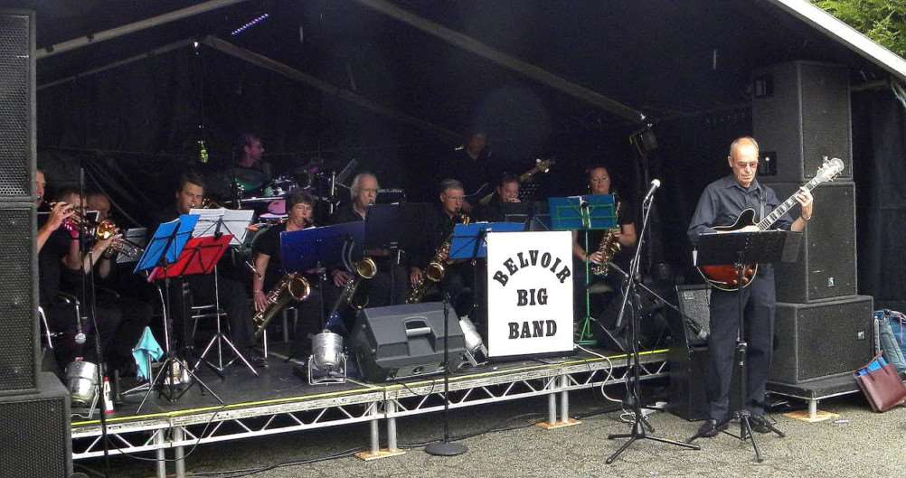 The Belvoir Big Band opening the GlastonBishop, Cropwell Bishop music festival in August 2015.