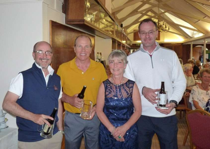 Winners of the Gents' Texas Scramble pictured with lady captain Sue Hall.