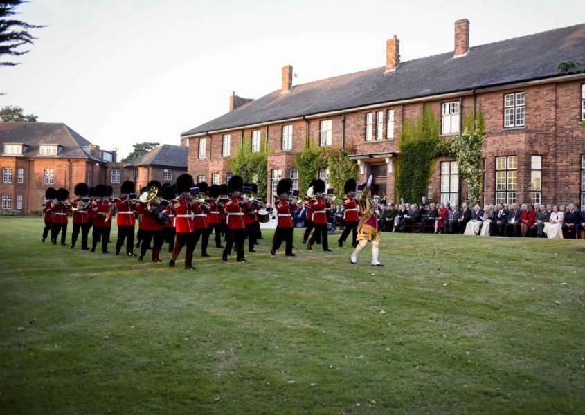 The Welsh Guards play at the 100th anniversary celebrations at the Prince William of Gloucester barracks in Grantham.