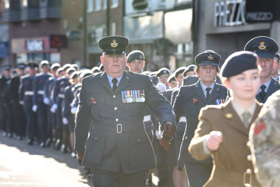 Members of the armed forces proudly wore their medals as they took part in Sunday's Remembrance Day parade through Grantham.