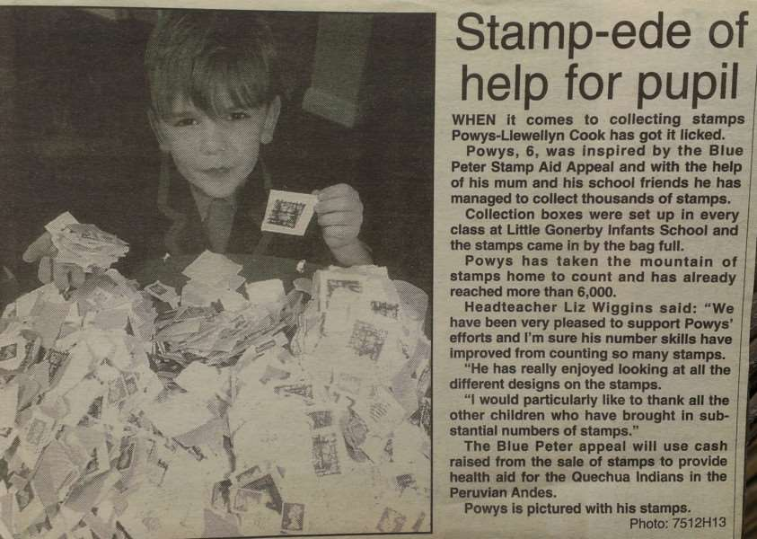 Powys-Llewellyn Cook was six when he appeared in the Journal after collecting thousands of stamps at Little Gonerby Infant School for a Blue Peter appeal.
