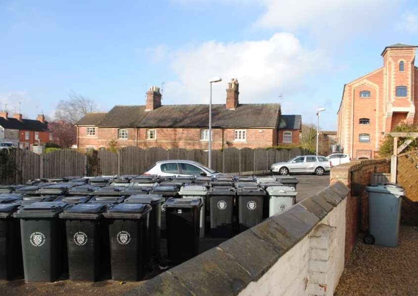 Bins outside the River View Maltings in Grantham.
