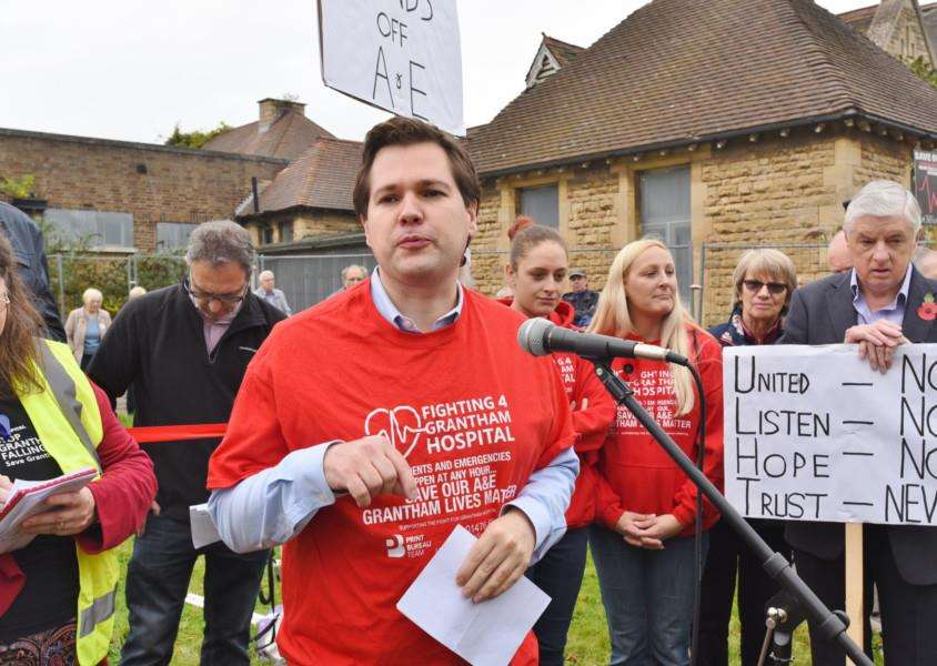 Newark MP Robert Jenrick speaks at the hospital protest march in October when Nick Boles MP was unable to attend because of illness.