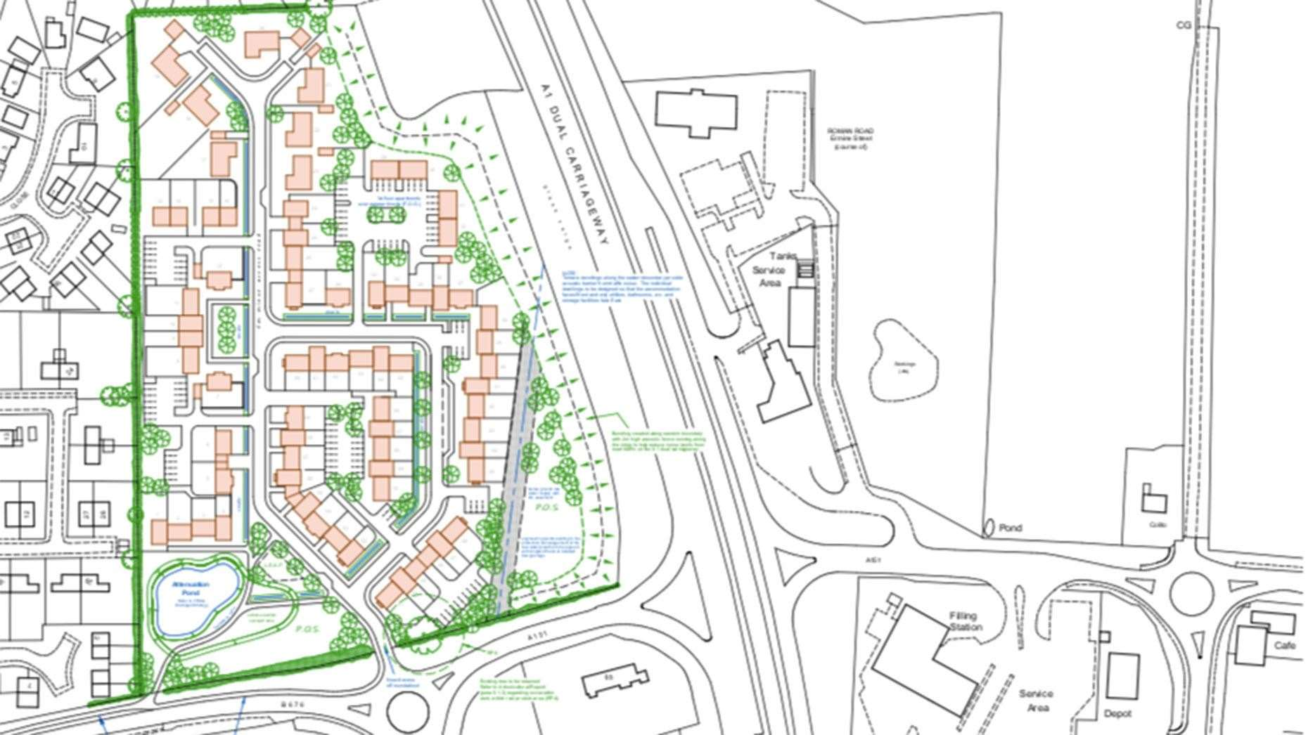 The proposed layout of the development at Colsterworth (16477123)