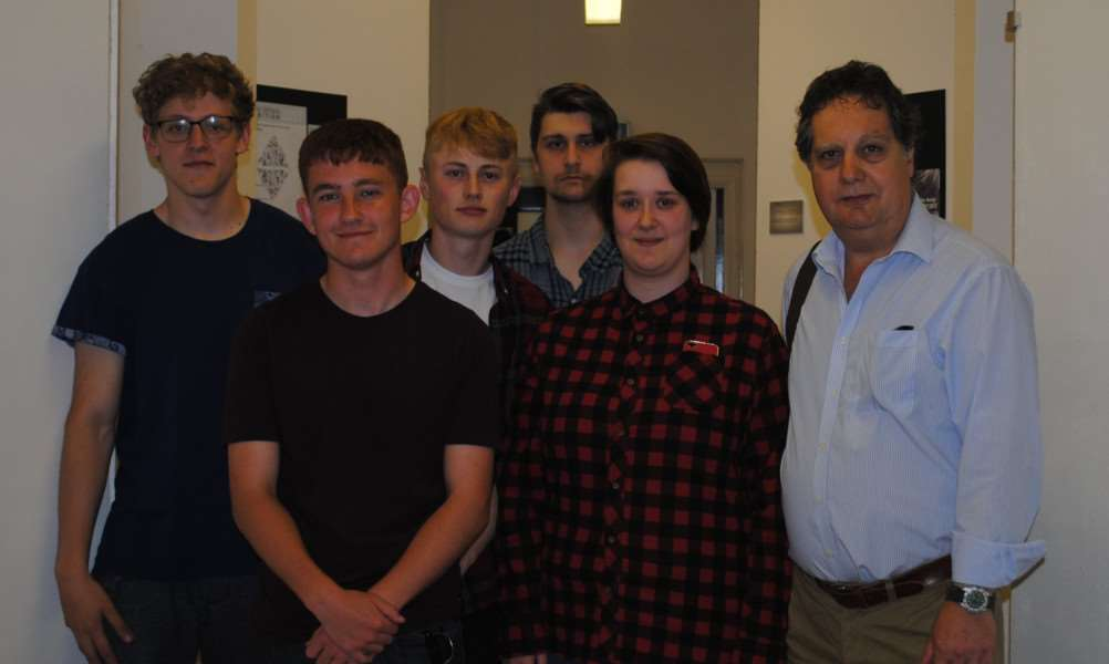 Stars of the show: The second year students (pictured here with course leader David Thomas) got the chance to show off their work at their show last week.