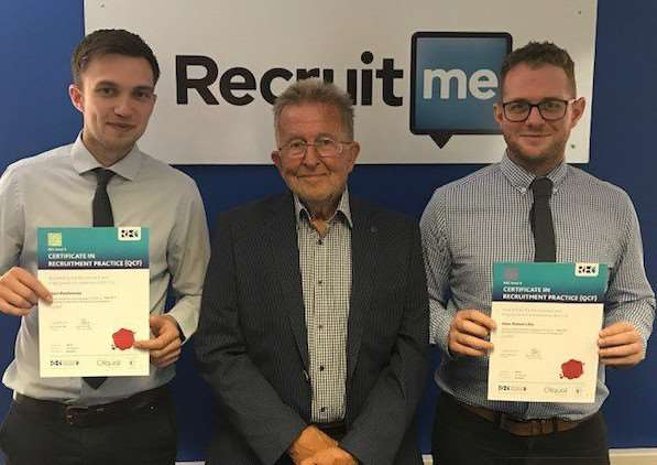 Top marks: Adam Woodmansey CertRP (Left) and Adam Lilley CertRP, receiving their REC certificates from RecruitME Chair, Simon Taylor