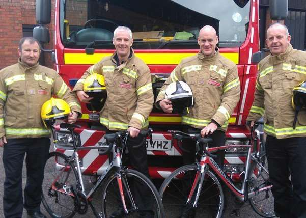 Green Watch Grantham Fire Station riders Clive Baillie, Kyle Campbell with their support crew Pete Scarlett and Craig Tuck.