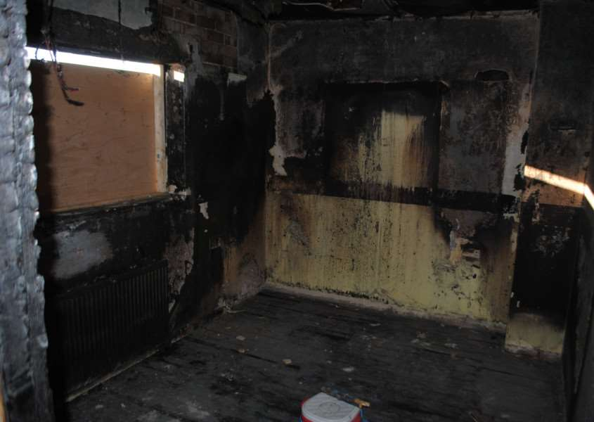 The gutted bedroom where the fire began at the house in Easthorpe Lane, Redmile.