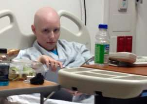 Kayti Spargo in hospital in the United States during her treatment for a rare form of cancer
