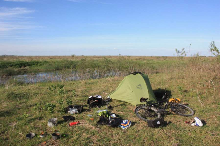 Nick Thomson's tent and bike in Romania.