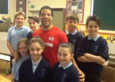 Paralympian Sam Ruddock meets children at Ropsley Primary School.
