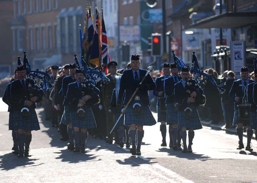 Remembrance parade through Grantham last year.