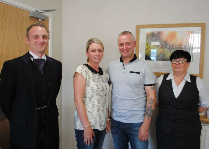 Dean and Michelle Fardell, centre, are pictured with funeral director Neil McClory and funeral arranger Sarah Northdurft of Co-op Funeral Care.