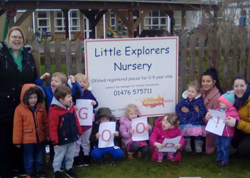 Staff and children of Little Explorers Nursery in Grantham