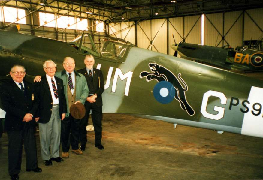 Battle of Britain Memorial Flight RAF Coningsby Ray Johnson, George Hennah (RIP), S/LDR. Norman Jones DFC (RIP) F/O. Norman Dear (Rip) with the Spitfire MK XIX with the Squadrons leaping Panther.