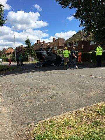 A car has overturned on Harrowby Lane. (2668218)