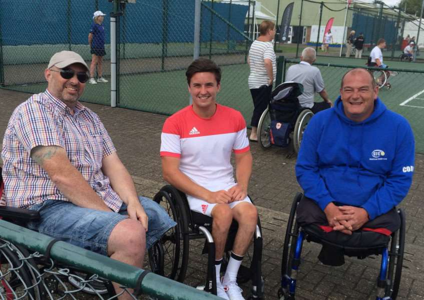 Pictured are Darren and Paul with Wimbledon Wheelchair champion Gordon Reid.
