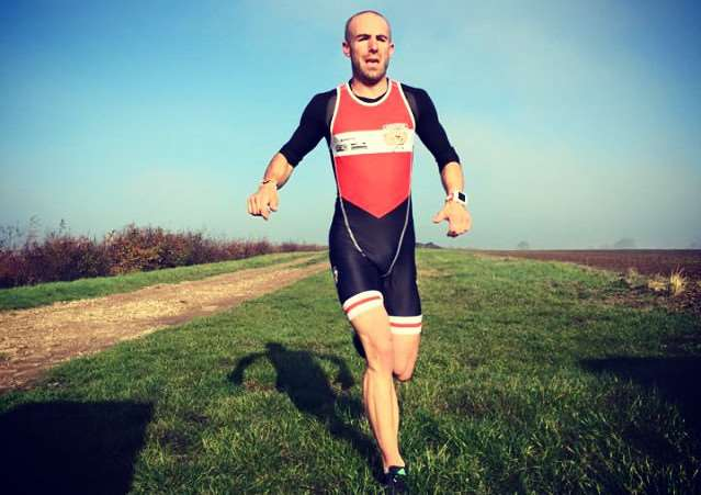 Race winner Adam Madge of Belvoir Tri Club.