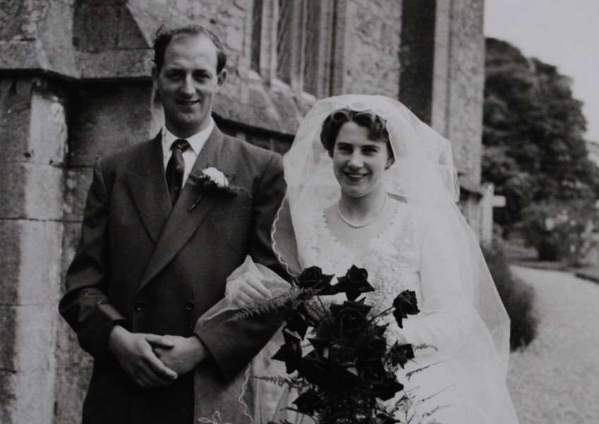 Winnie and Dave Blankley on their wedding day in 1956.