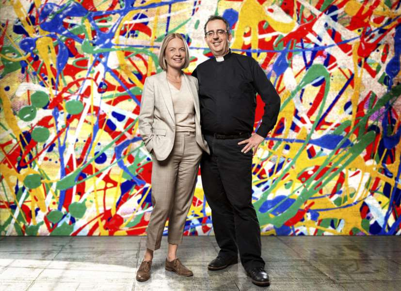 The Big Painting Challenge with Mariella Frostrup and the Reverend Richard Coles. (C) BBC - Photographer: Ed Miller