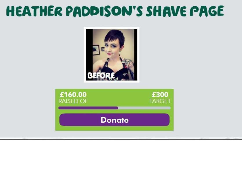 Heather Paddison will brave the shave for Macmillan Cancer Support.