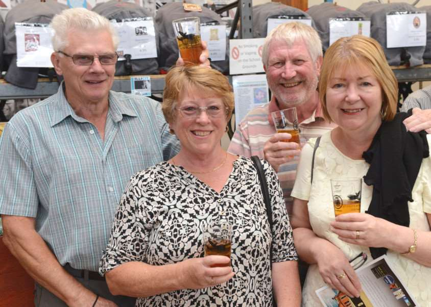 CAMRA Beer Festival, Huntingtower Community Primary Academy. Pictured are: Terry Baker, Wendy Baker, Dave Taylor, Caroline Taylor