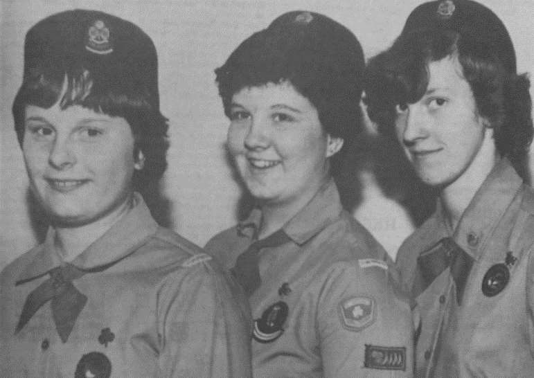Queen's Guides Sally Durant, Penelope Bennet and Rosamund Stanley.