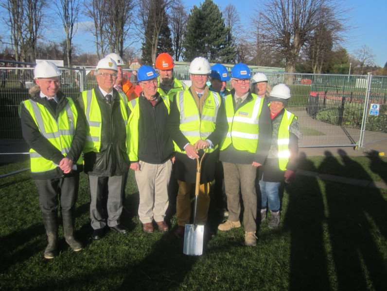 SKDC leader Matthew Lee and council contractors at Wyndham Park, Grantham, on Thursday.