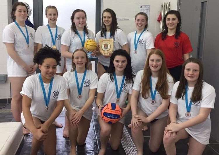 U15 ESSA National Water Polo champions KGGS are, from left, back - Madeleine Barnes, Hannah Underwood, Amelia Peters, Alexandra Barnett, Phoebe Leach and coach Rose Bitowt; front - Beau Cann-Livingstone, Tazmin Brown, Elizabeth McLoughlin, Laura Harvey and Jessica Trotter.