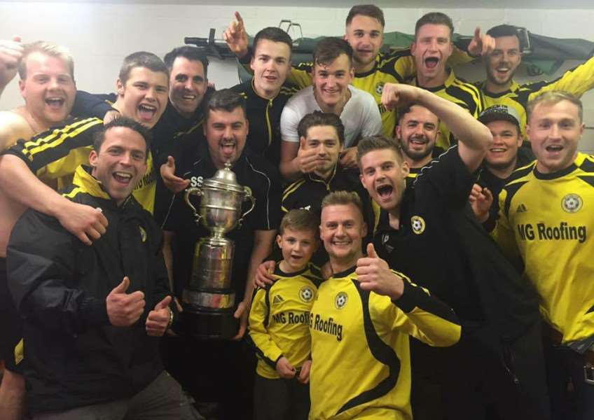 Beehive United celebrate becoming Culverthorpe Cup champions again.