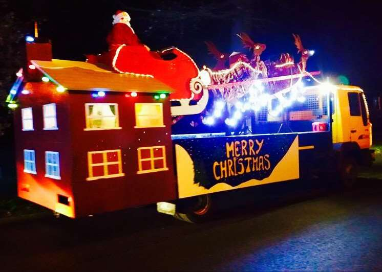 Grantham firefighters tour Grantham with Santa's sleigh to raise money for the Firefighters Charity.