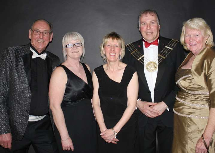 Pictured, left to right, Brian Duller compare, Carol Vasey director , Ingrid Lyon, Ian Selby and the mayoress..