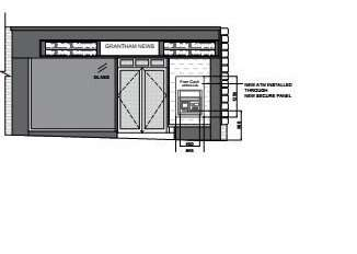 A plan showing the location of the proposed ATM to the right of the entrance at Grantham News.