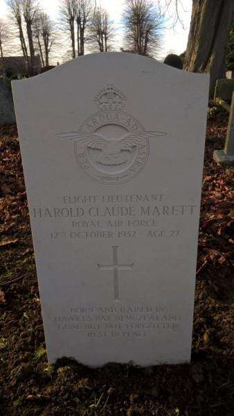 The new headstone on Harold Marett's grave in Grantham cemetery.