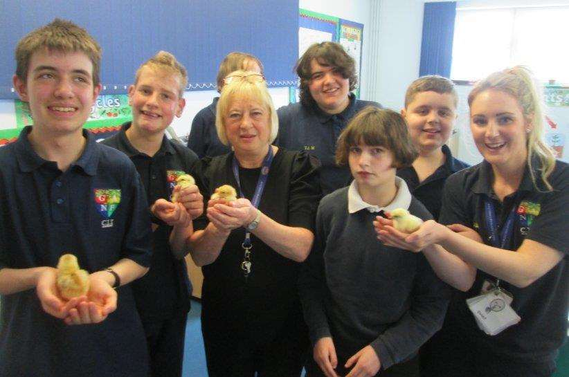 Staff and pupils at Sandon School with their 'six new arrivals.'