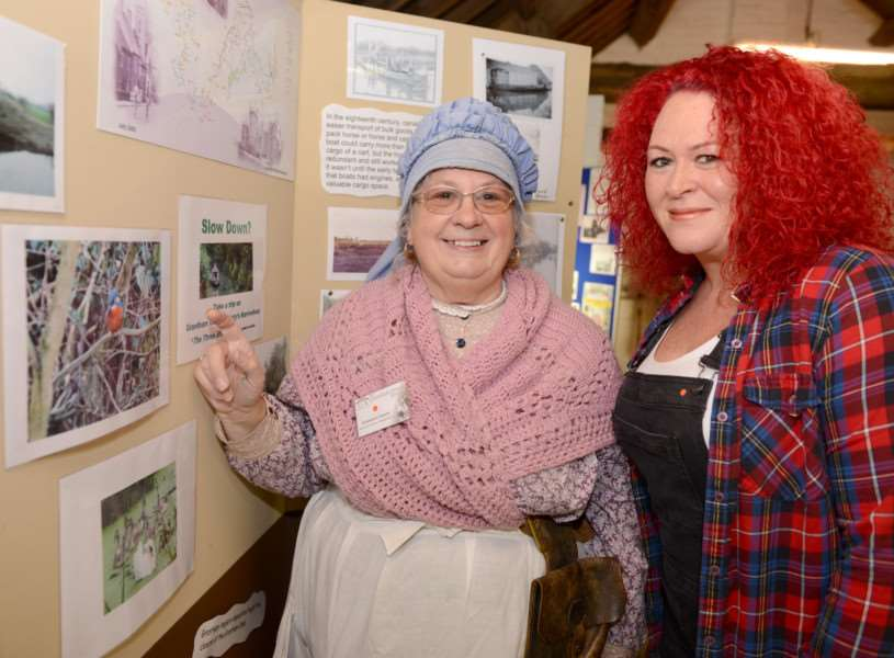 Rosemary Ginson and Suzanne Stevens at the exhibition stands on Grantham Canal Society's Discovery Day. Photo: TRP-9-10-2016-004B (1)