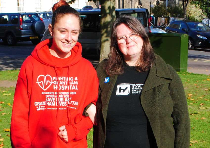 Campaigners Melissa Darcey (F4GH) and Charmaine Morgan (SOS Grantham Hospital)