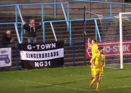 A clip from the YouTube video showing Andrew Wright's darts-inspired goal celebration at Halesowen.