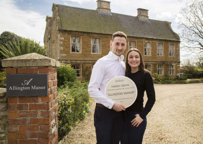 Leo Vincent and Amy Dove celebrate their Hidden Gem award at Allington Manor.